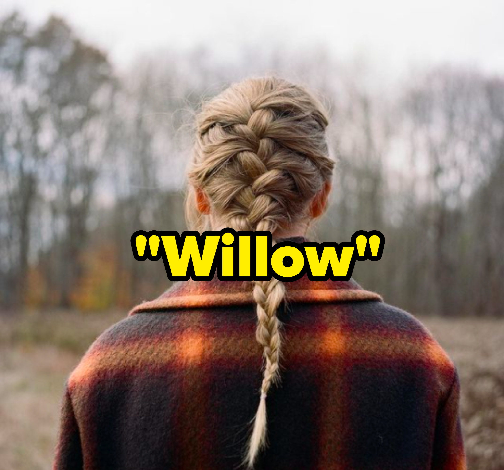 """""""Willow"""" written over the """"Evermore"""" album cover"""