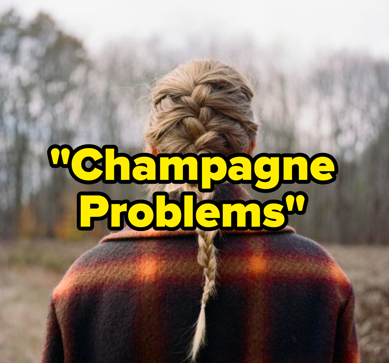 """Champagne Problems"" written over the ""Evermore"" album cover"