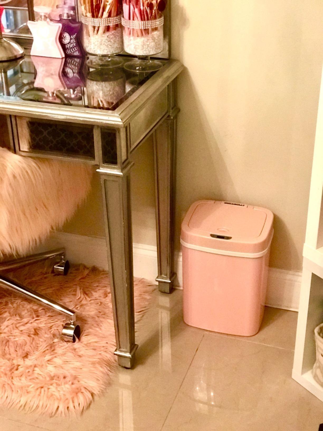 Reviewer trash bin next to desk in room