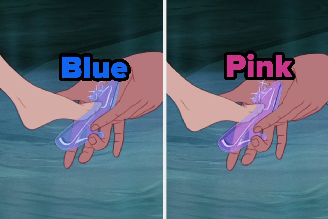 Cinderella's shoe in blue and pink