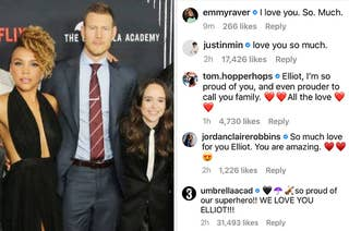 Elliot Page next to supportive Instagram comments