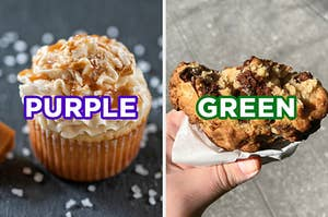 """On the left, a salted caramel cupcake labeled """"purple,"""" and on the right, someone holding a chocolate chip cookie with bites taken out of it labeled """"green"""""""