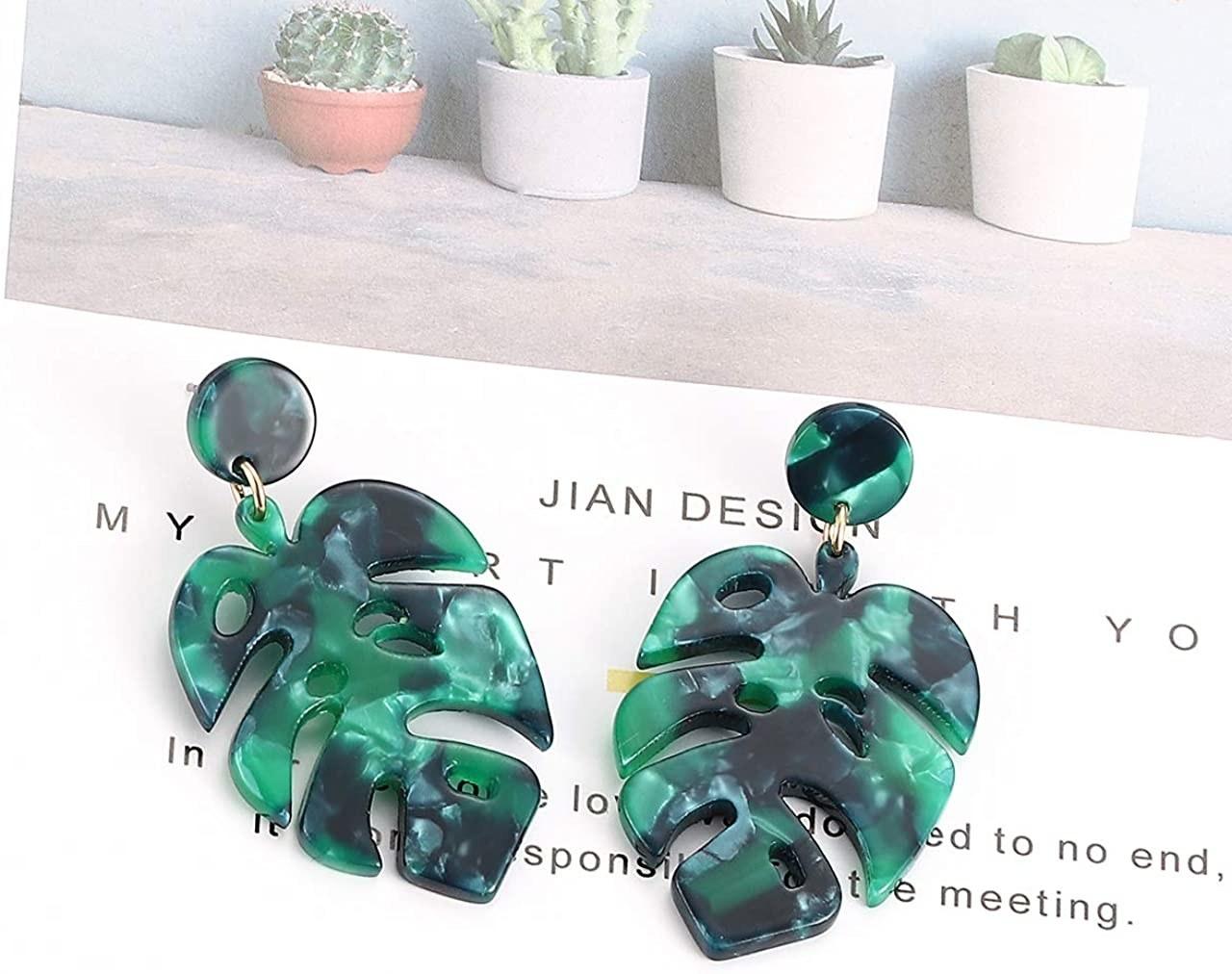 dangling tortoiseshell earrings shaped like leaves