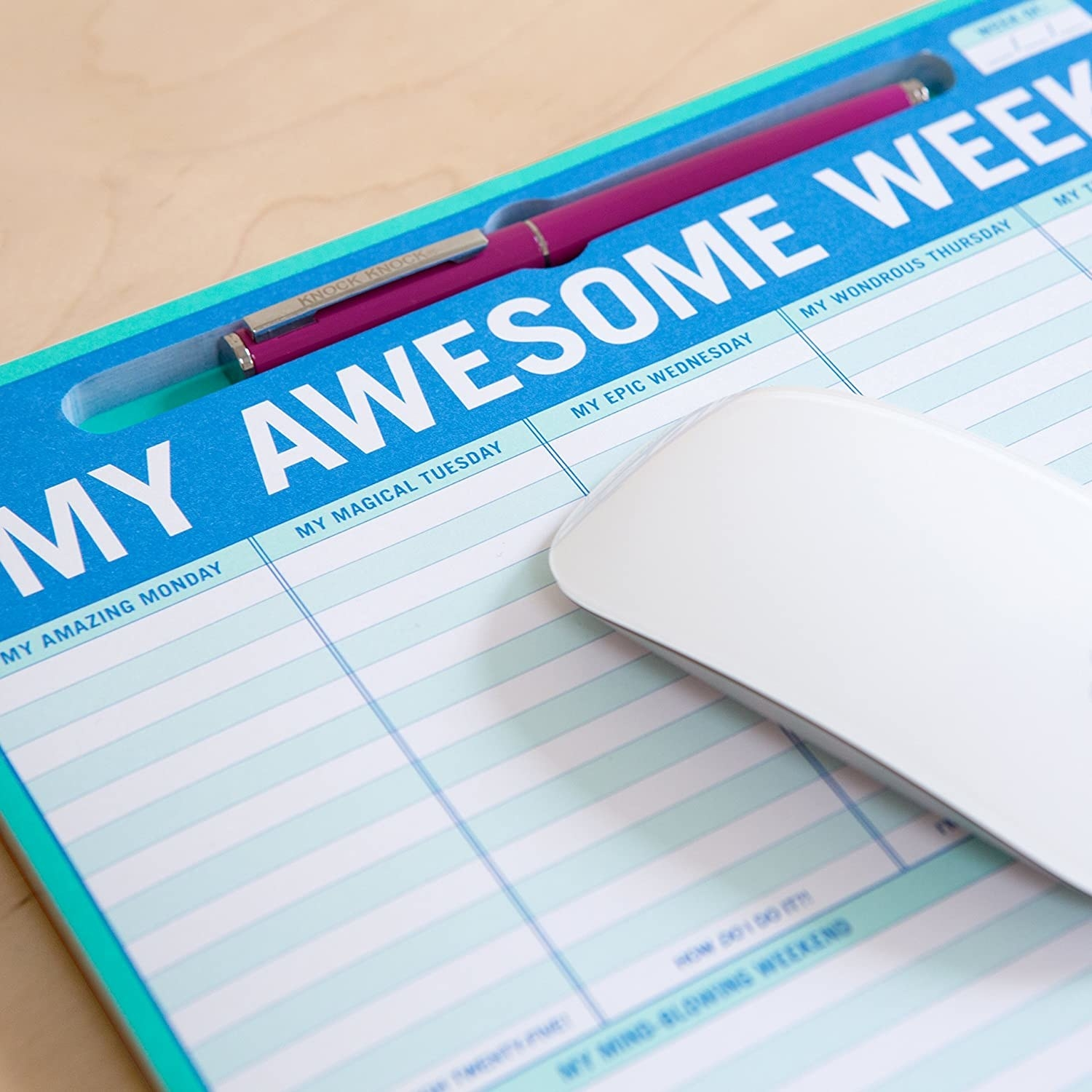 """""""my awesome week"""" notepad used as a mousepad"""