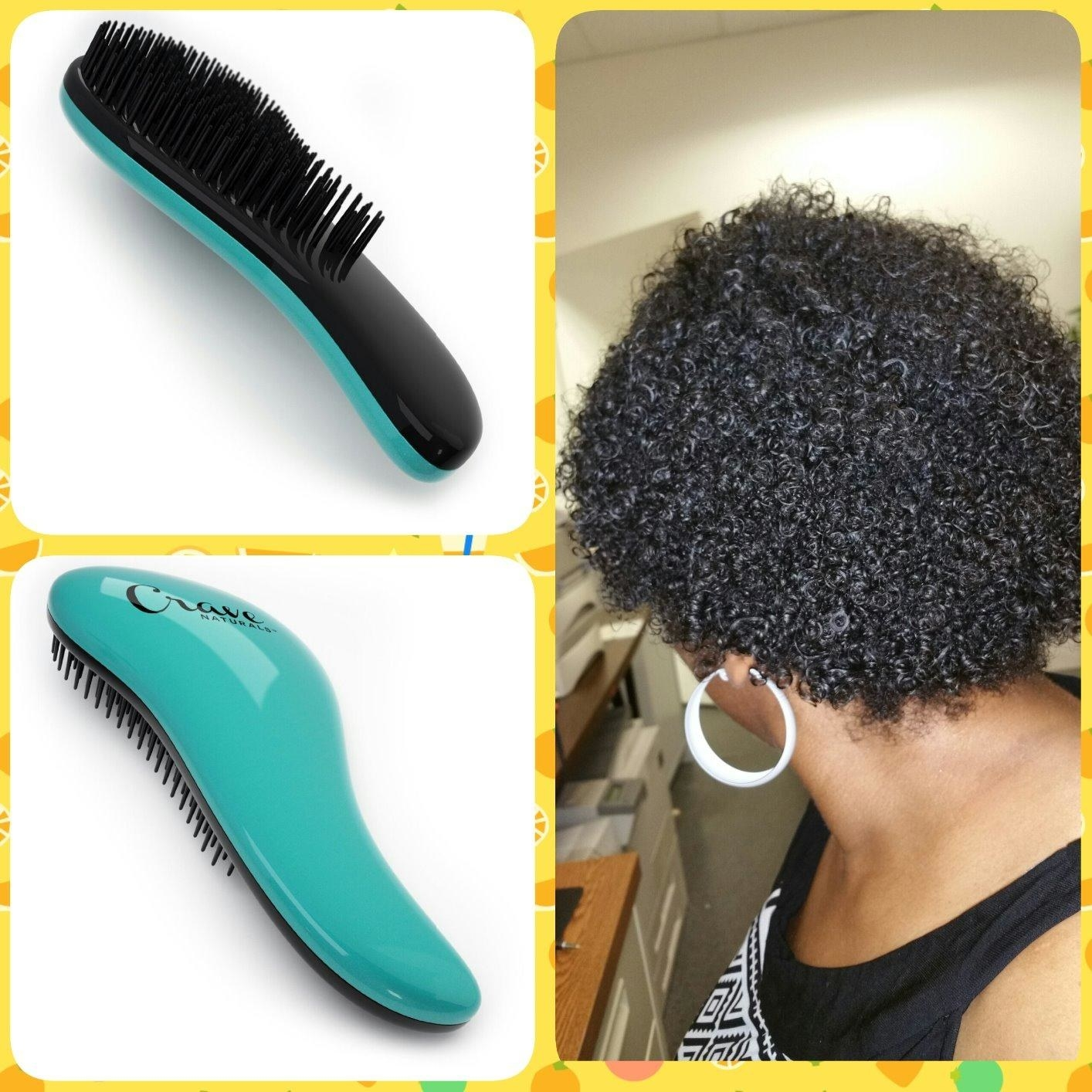 A collage of photos, with the brush in teal and the reviewer's natural hair