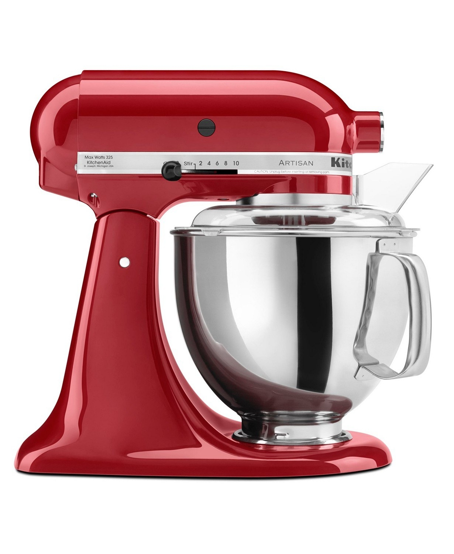 the red kitchenaid Artisan 5 Qt. Stand Mixer