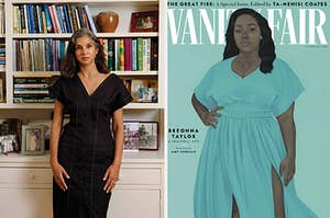 Image of Radhika Jones standing in front of bookcase next to image of Vanity Fair's September 2020 cover with the painting of Breonna Taylor
