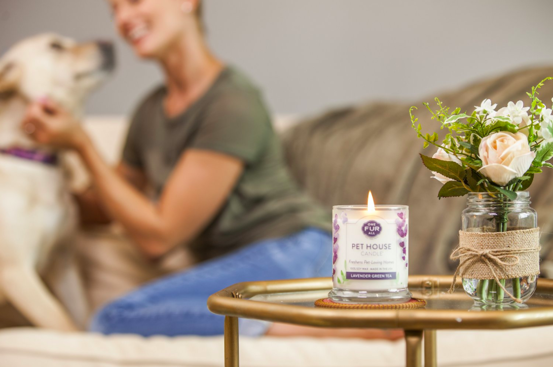 the lavender green tea candle on a table with a person and dog in the background