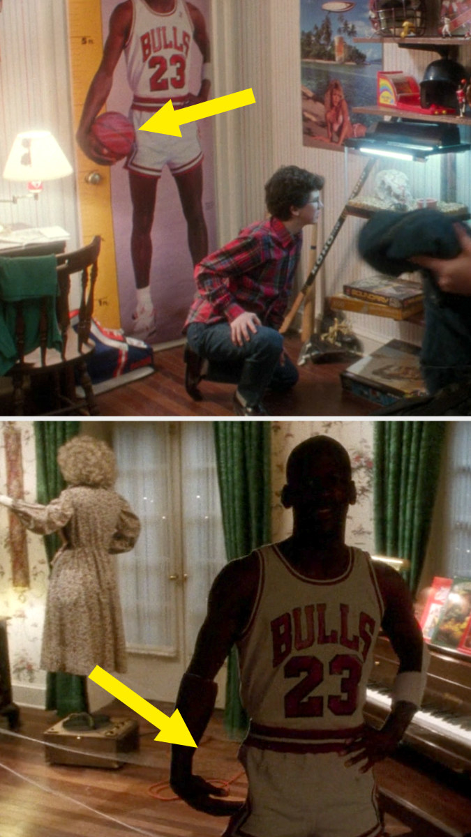 A poster of Michael Jordan holding a basketball in Buzz's bedroom and that same poster, cut out attached to a train and not holding a basketball