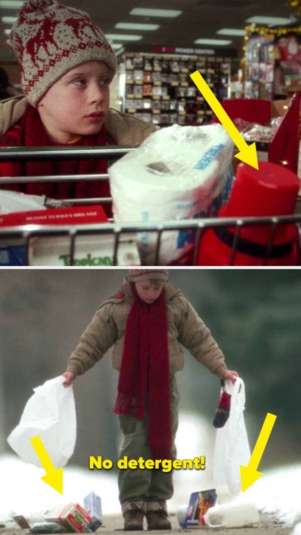 Kevin buying groceries, then the bags breaking on the street