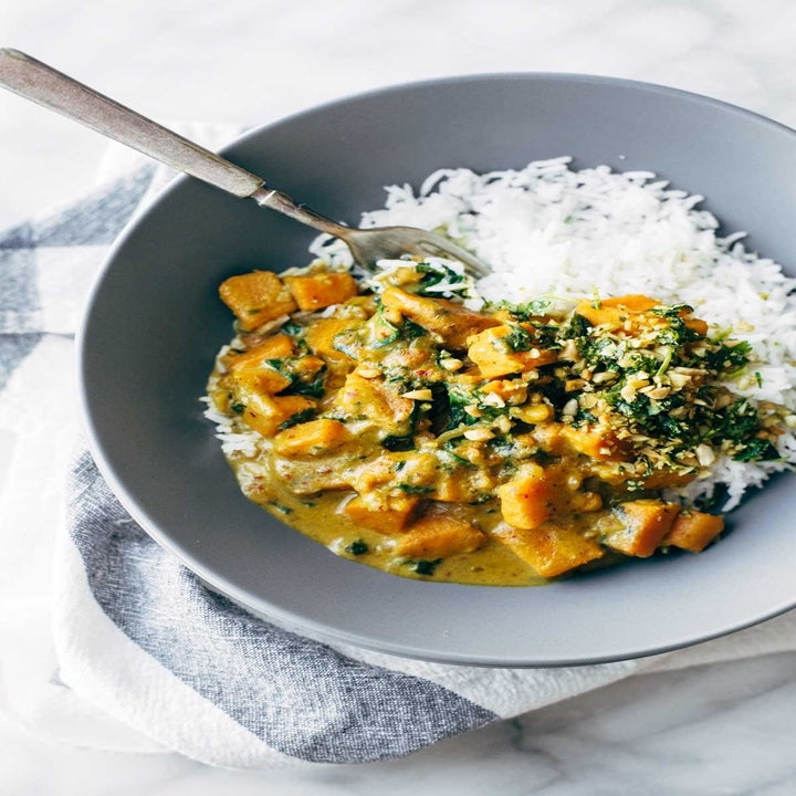 Sweet potato coconut curry with rice.