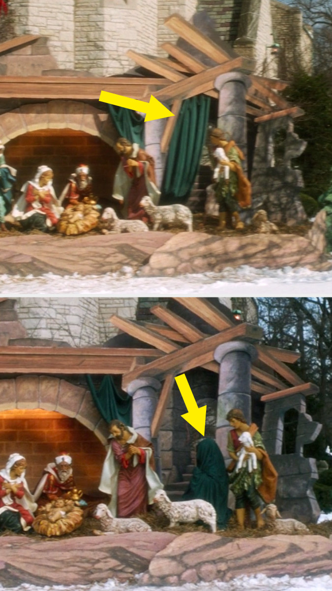 A green curtain hangs on a nativity display outside a church and in the next shot Kevin is using the robe to hide himself