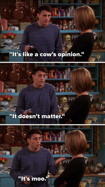 "Joey says, ""It's like a cow's opinion, it doesn't matter, it's moo"""