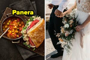 A tuna sandwhich and minestrone soup from Panera, and a bride and groom holding hands