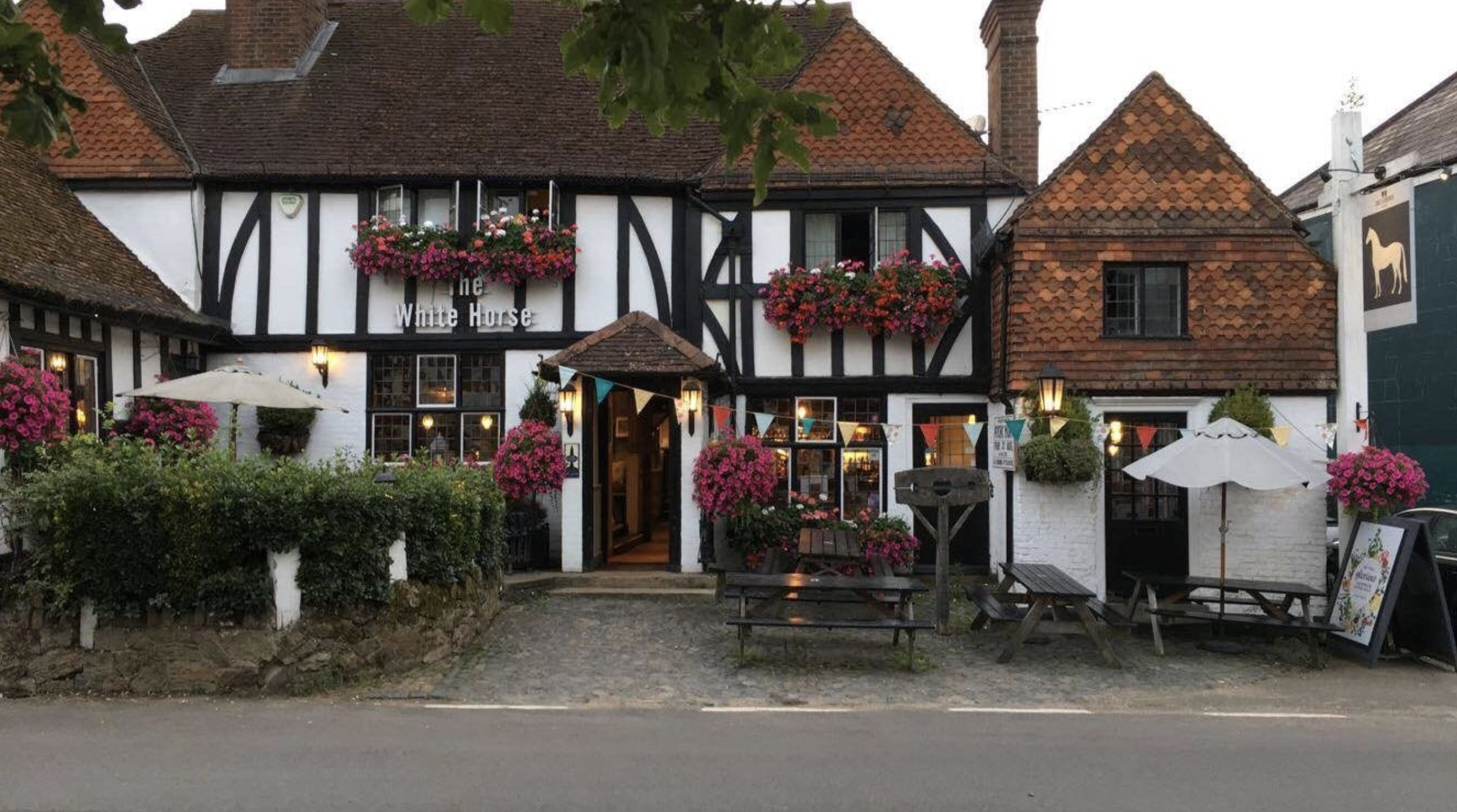 An exterior shot of the tavern where they filmed the movie