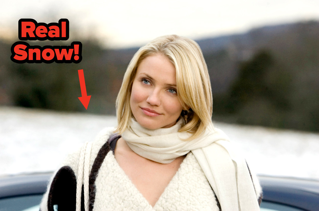"""Cameron Diaz/Amanda stands in front of a blurry backdrop of snow and greenery; an arrow points to the snow with text """"real snow!"""""""