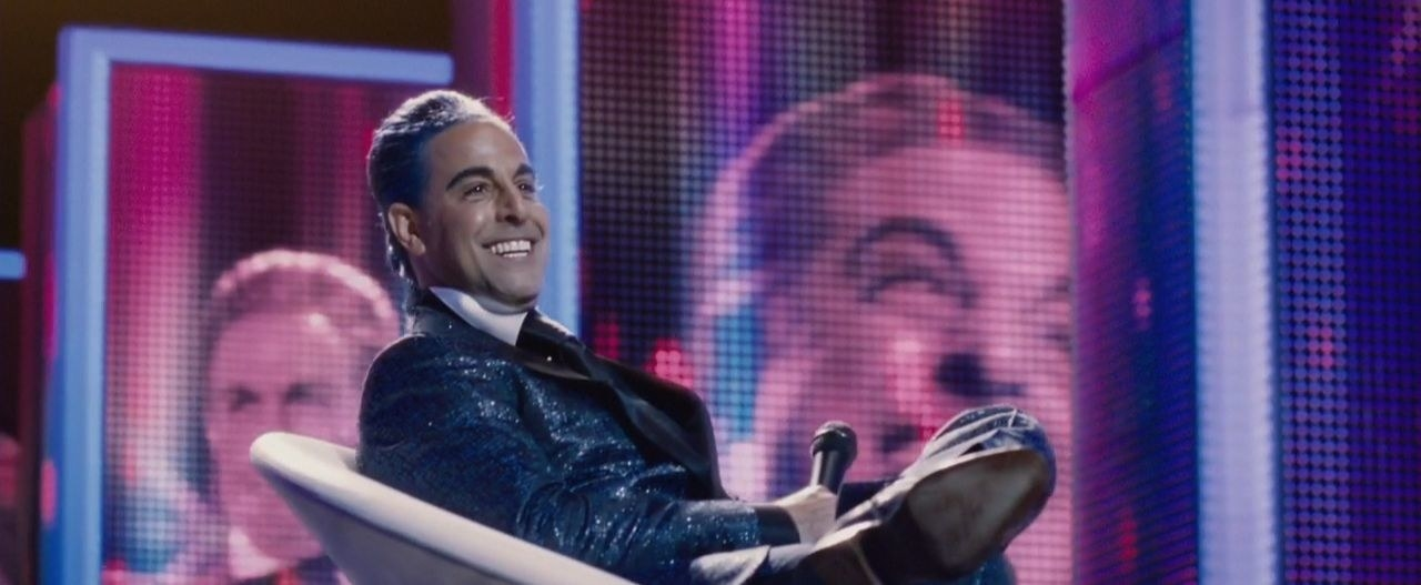 Caesar Flickerman presenting at the Hunger Games