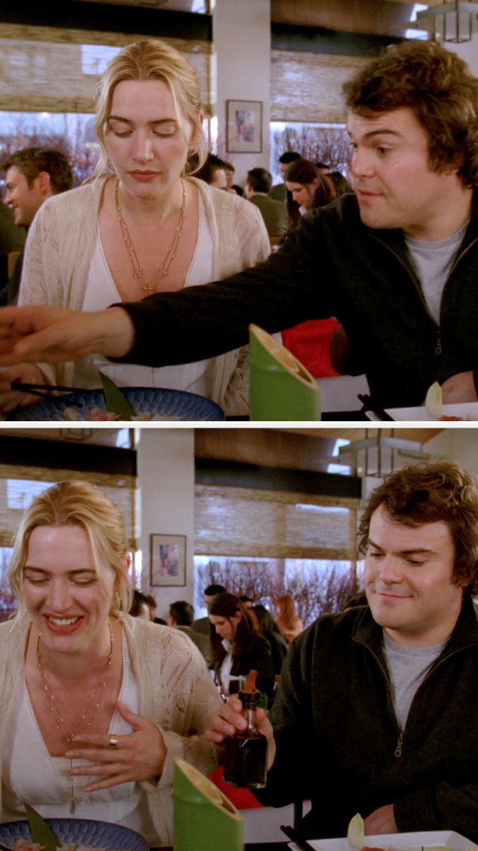 Two pictures depict the scene in which Jack Black/Miles accidentally grazes Kate Winslet/Iris' boob