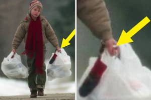 Kevin holding grocery bags