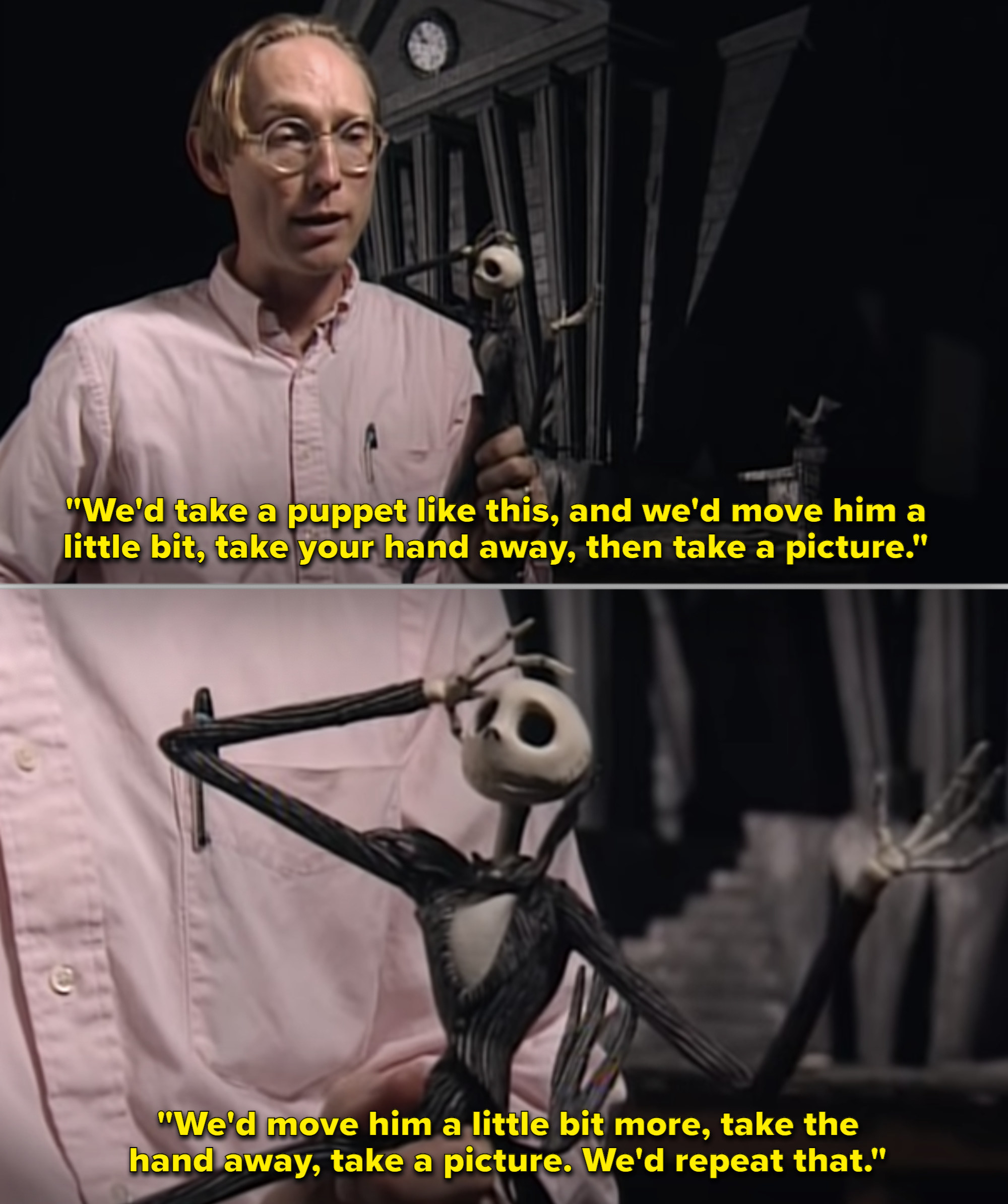 Someone on set holding the Jack Skellington puppet