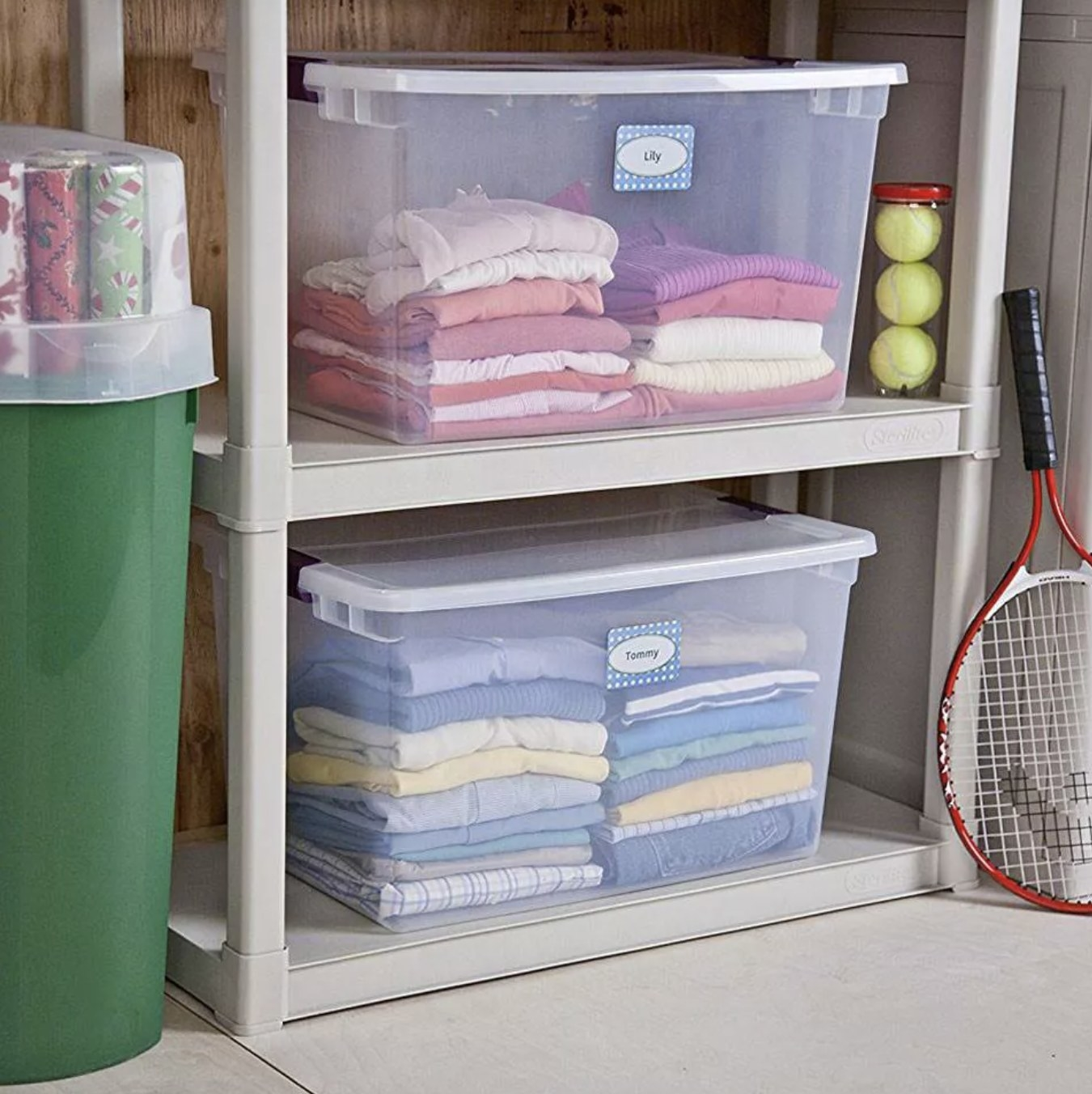The storage containers on shelves