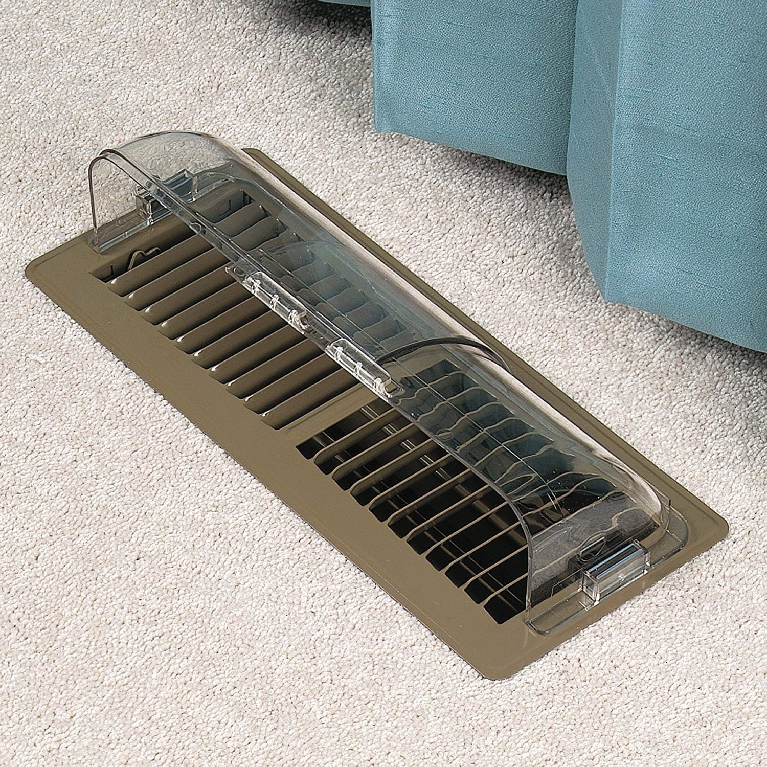 The vent deflector shown on top of a floor vent