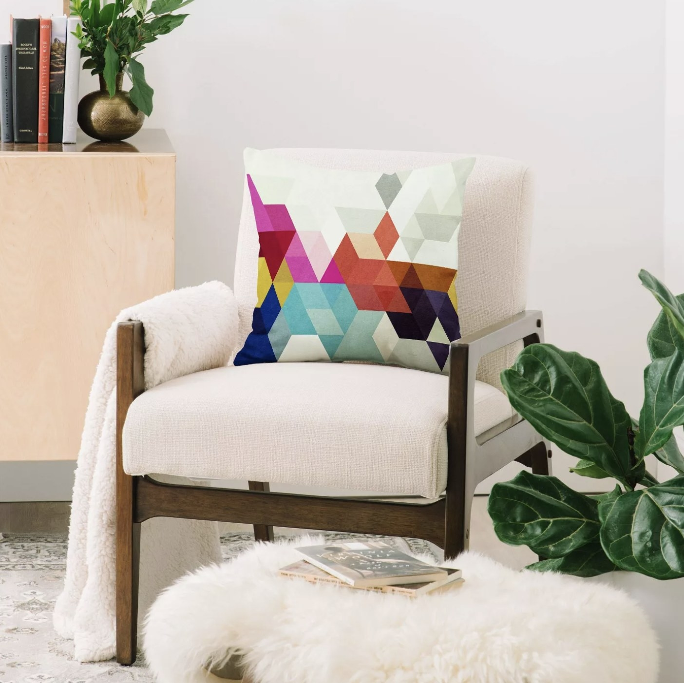 The geometric-patterned throw pillow