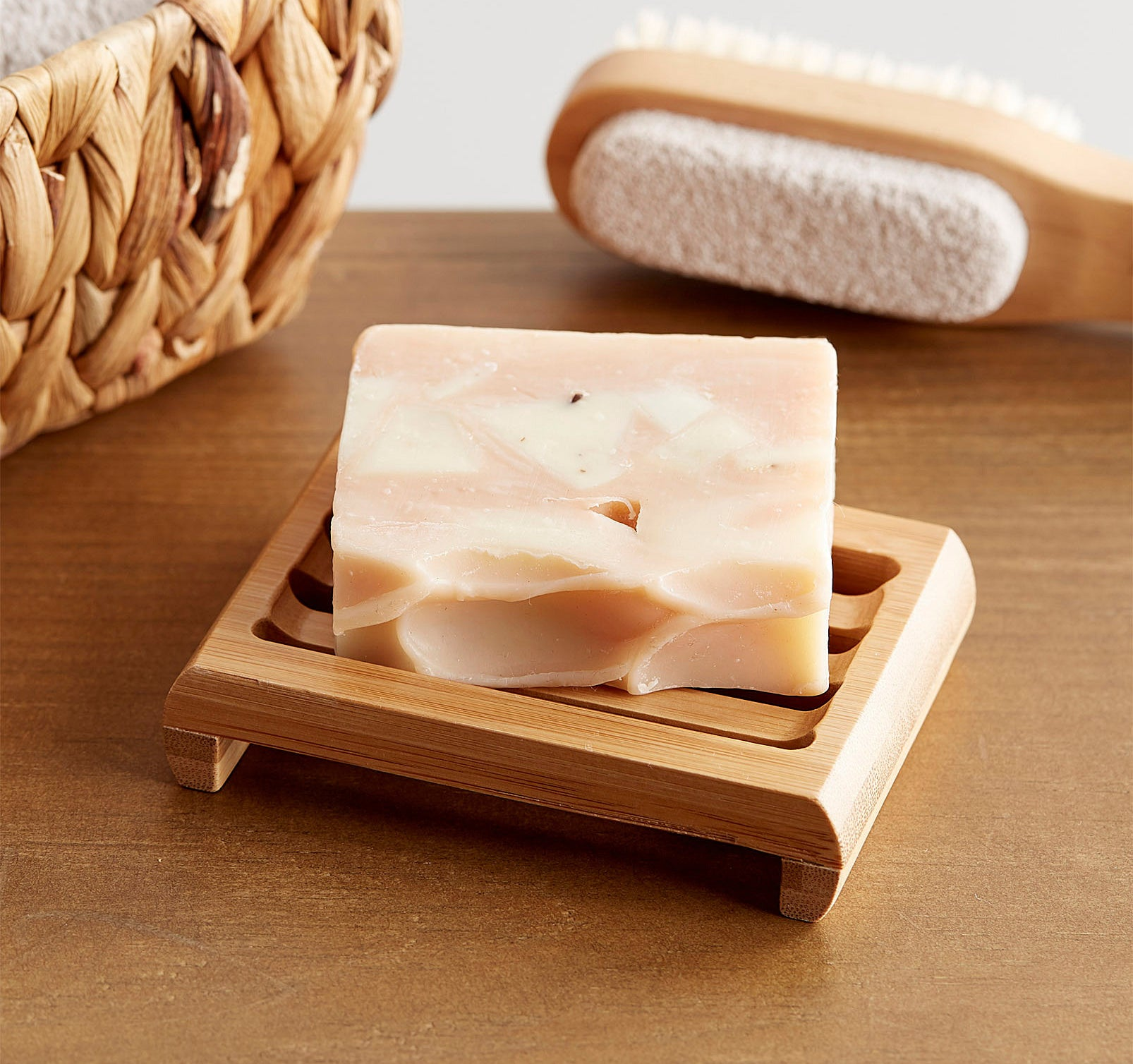 A bar of soap on the bamboo dish