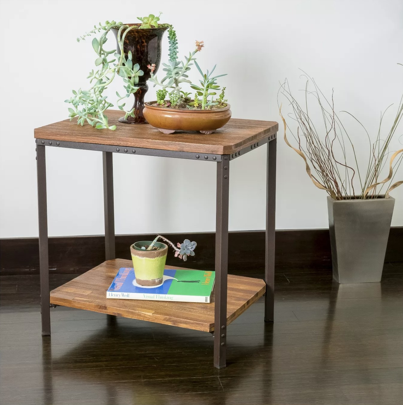 A rustic end table