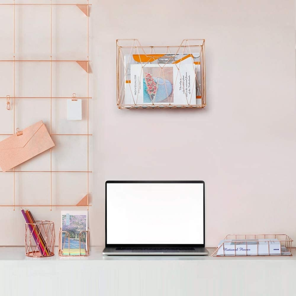 the hanging file organizer, letter sorter, sticky note holder, letter tray, and pencil holder displayed in an office