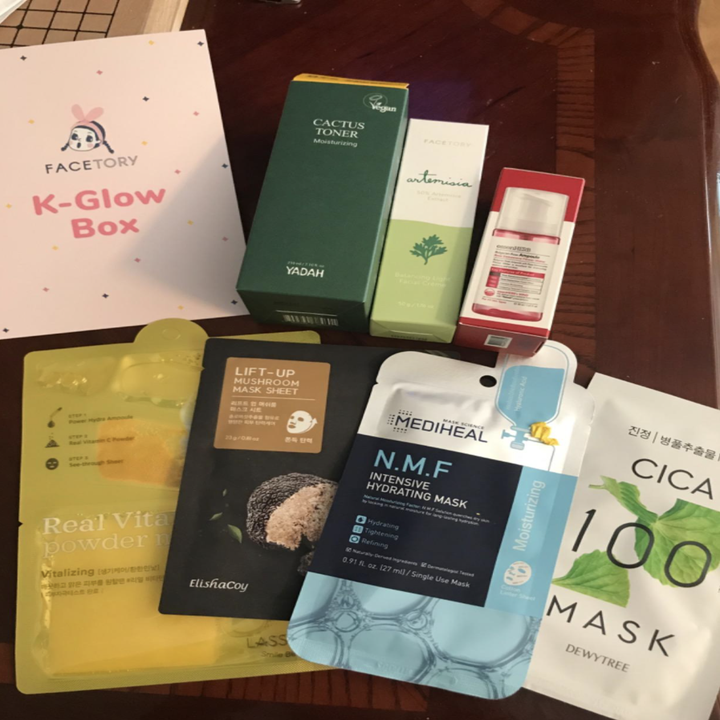 The face masks inside the box