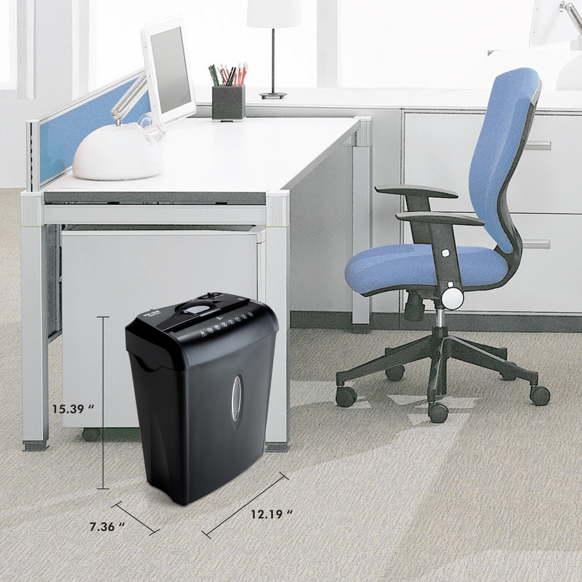 the shredder shown in an office with it's measurements