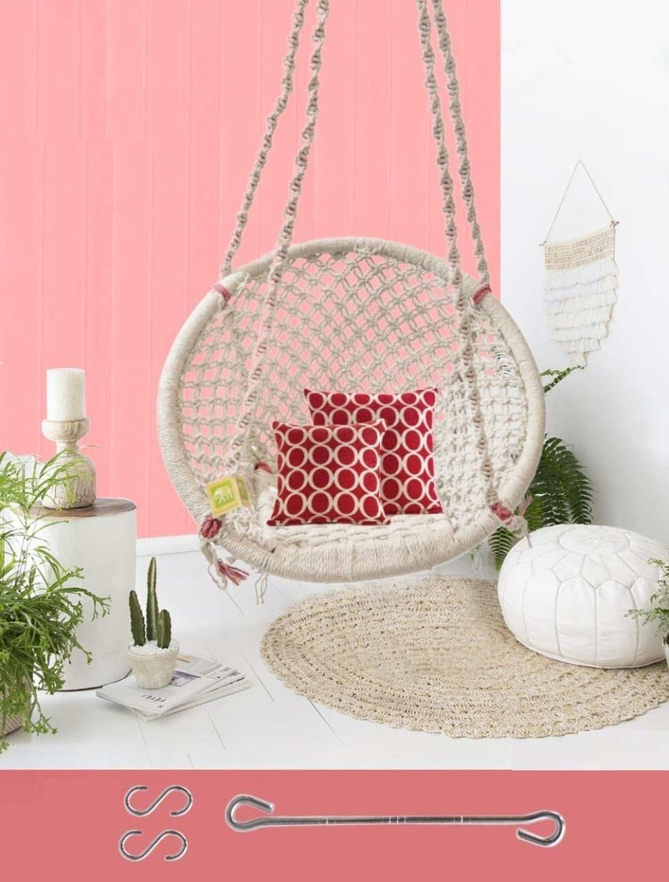 A white swing chair