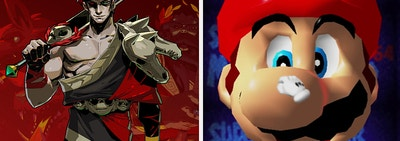 the main character from Hades on the left, Mario on the right