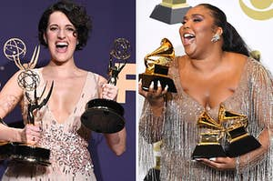 A celeb is on the left holding an Emmy with another on the right holding an Emmy