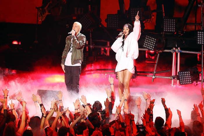 Rihanna and Eminem performing