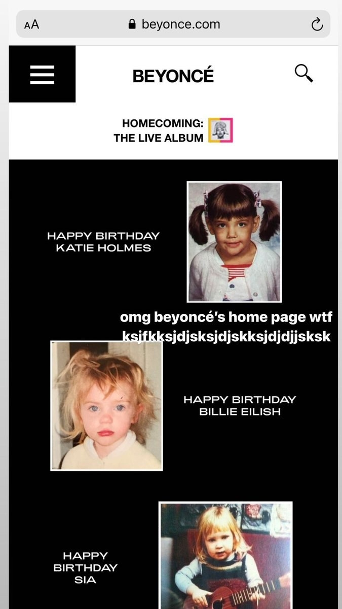 Baby photos of Billie Eilish, Sia, and Katie Holmes.