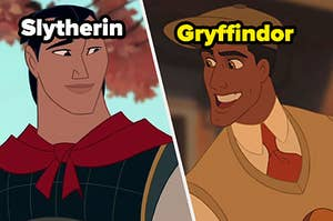 """Li Shang is on the left labeled, """"Slytherin"""" with Prince Naveen on the right labeled, """"Gryffindor"""""""