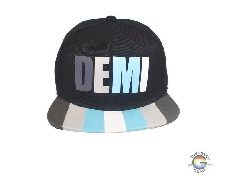 a black hat that says demi with the demi boy pride colors on the brim (dark gray, light gray, blue, and white)