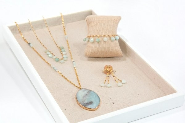 a necklace with matching bracelet and earrings
