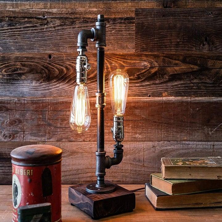 steampunk lamp styled on desk