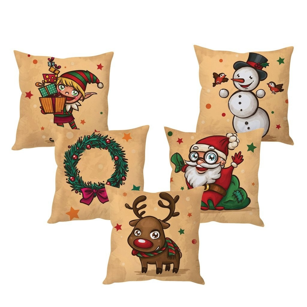 A set of five beige pillow covers with cartoon drawings of an elf, a wreath, a reindeer, a Santa Claus and a snowman.
