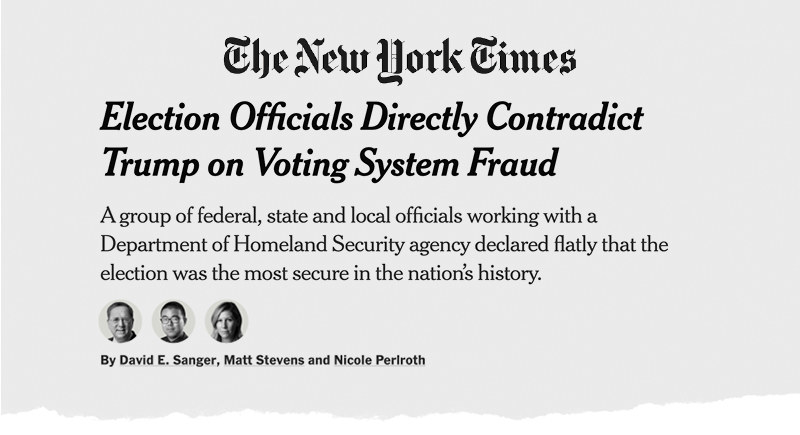 "A New York Times headline reads ""Election Officials Directly Contradict Trump on Voting System Fraud"""