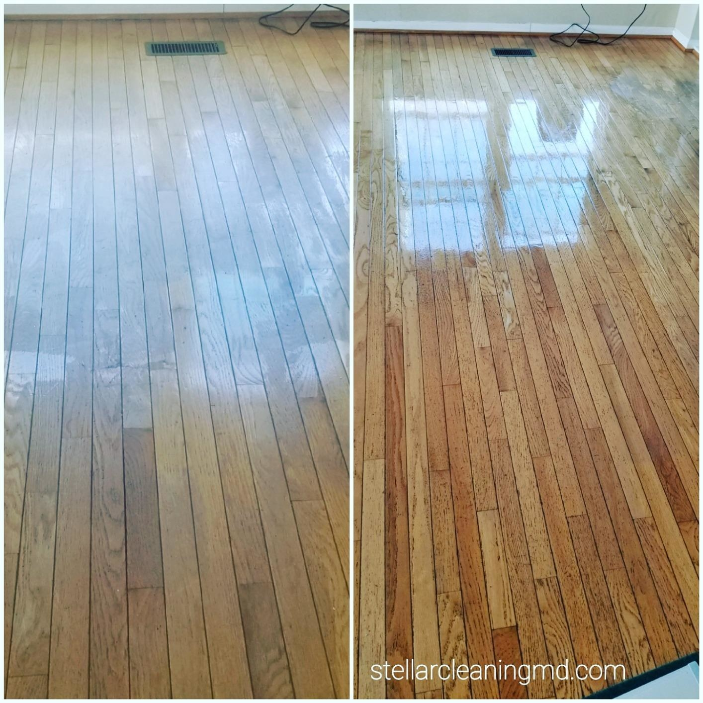 dull hardwood floors before the mop, and shiny hardwood floors after the mop