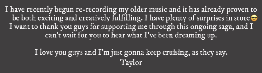 Taylor saying it's been exciting re-recording old songs and she has surprises in store