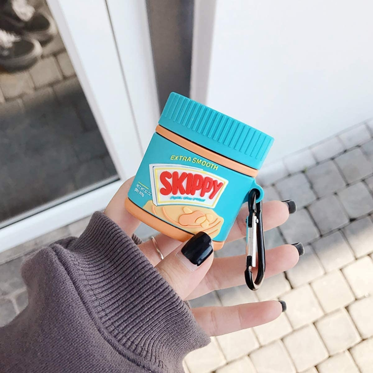 silicone airpods case that looks like a skippy peanut butter jar