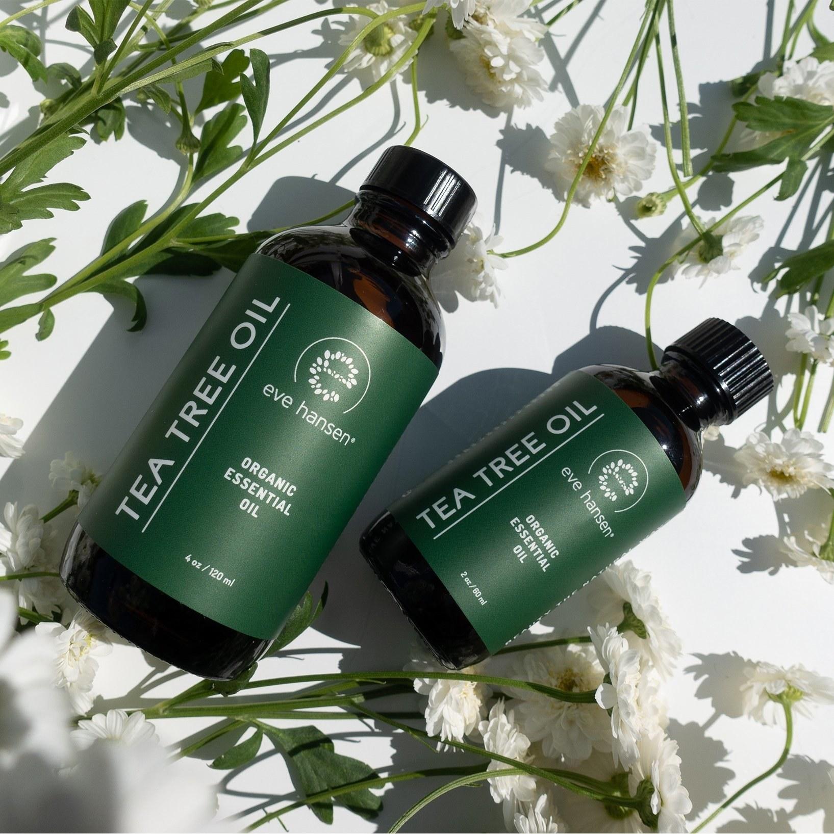 the tea tree oil in a bottle