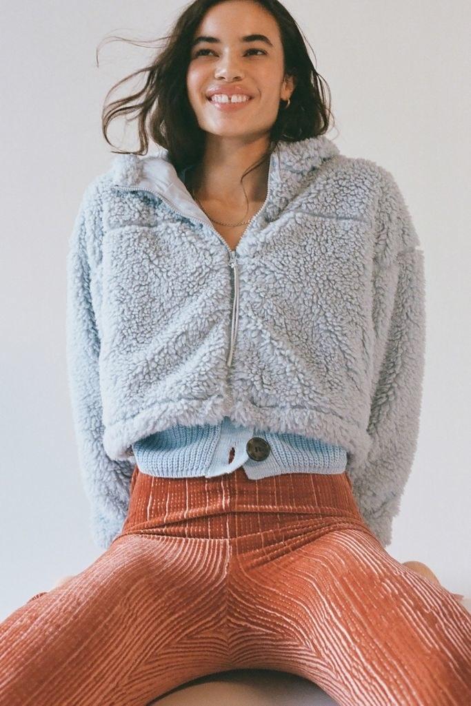 model wearing fleece hoodie