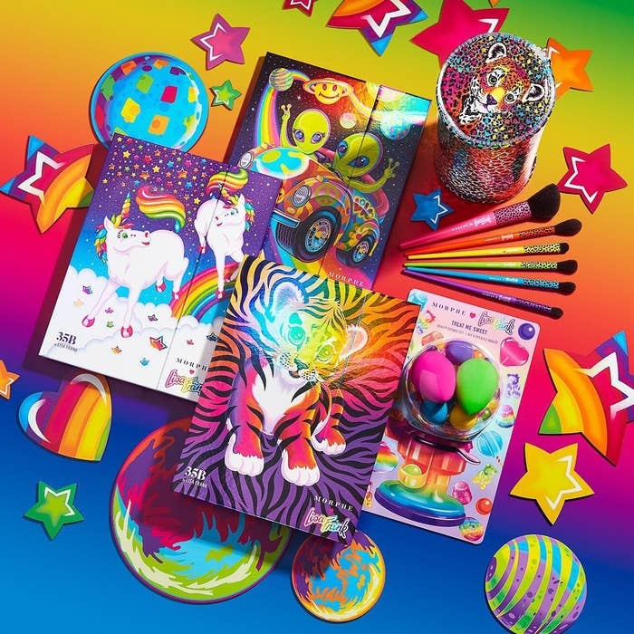 Three eyeshadow palettes, makeup sponges, and a set of brushes from the Lisa Frank and Morphe collection