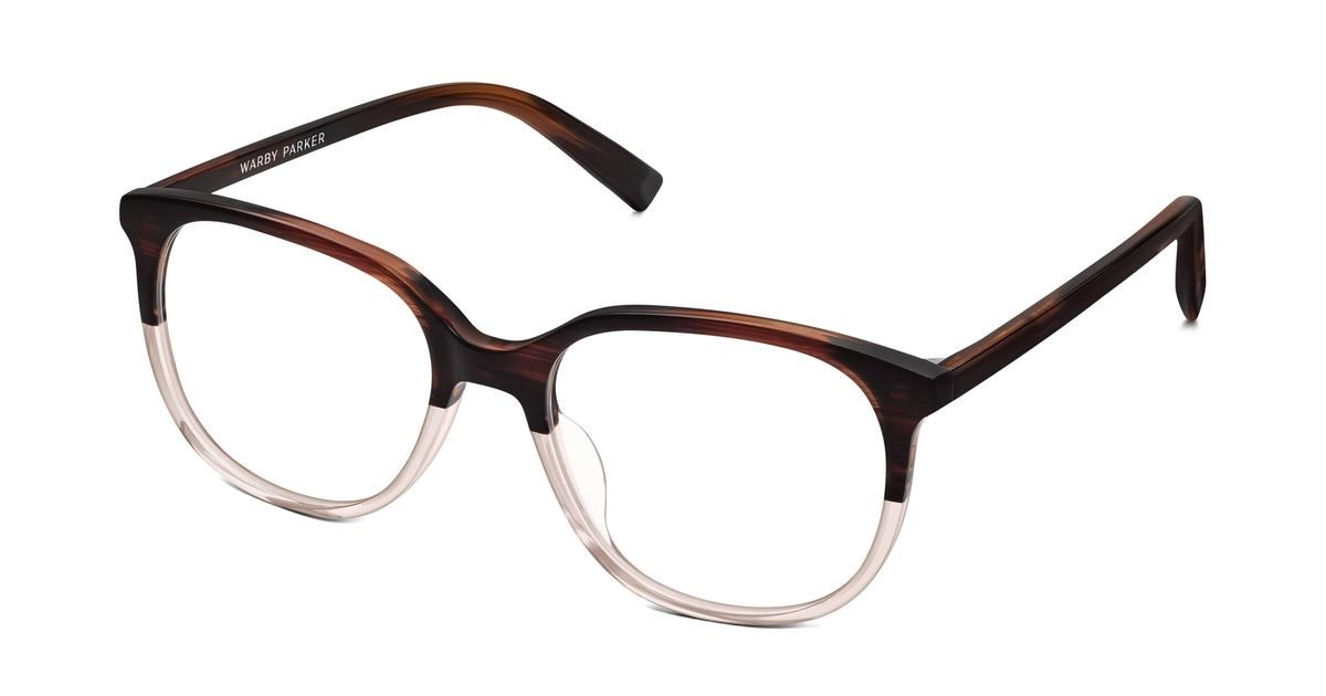 the frames with the top portion in brown and the bottom half in clear